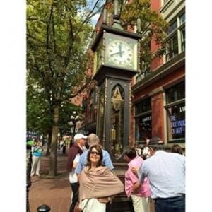 A charmosa cidade de Gastown!  O famoso relógio à vapor, mostrando que o tempo não para